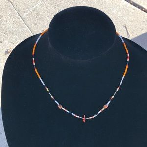 """Coral and multi color beaded 19"""" necklace"""